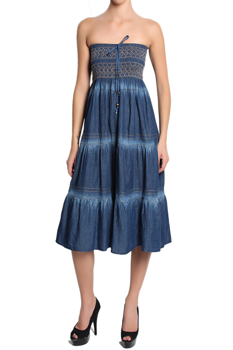TheMogan Women's Embroidered Tiered A-Line Smocked Waist Long Maxi ...