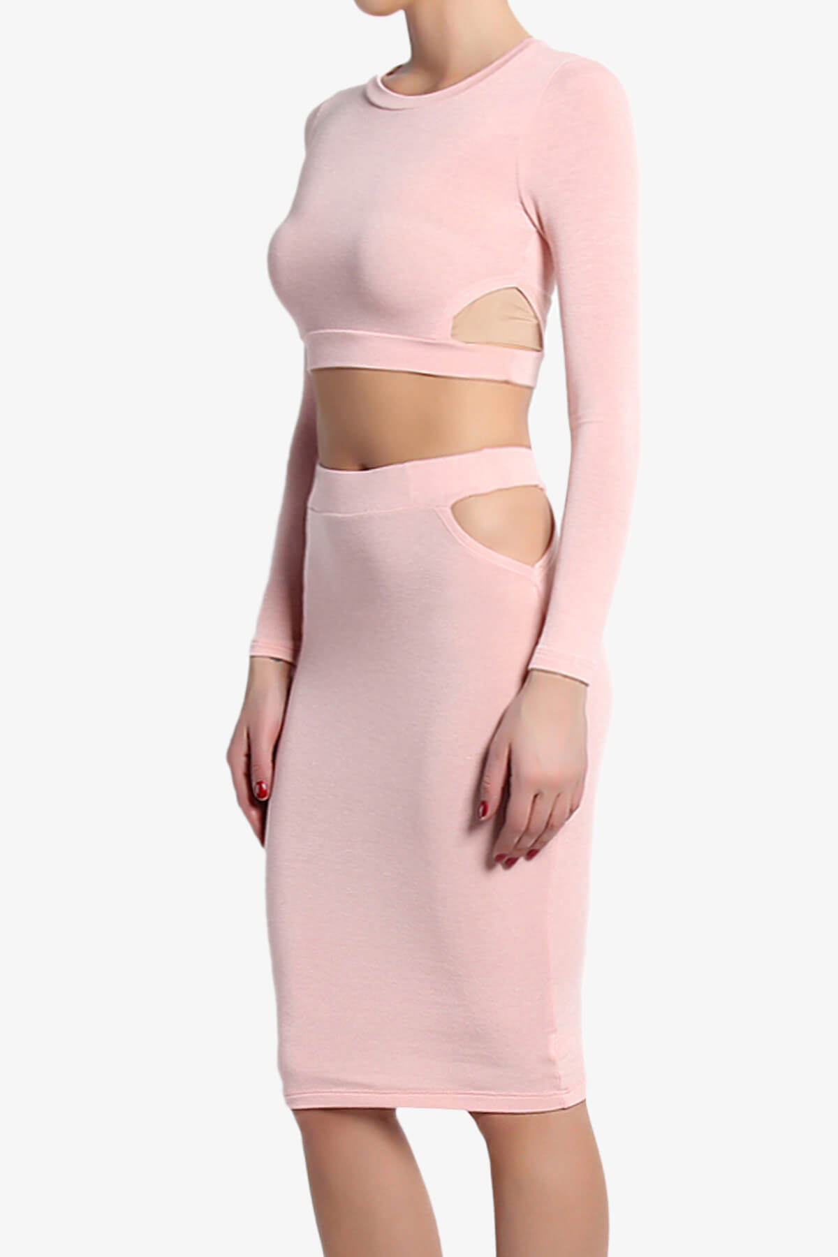 TheMogan Cut Out Long Sleeve Crop Top Pencil Skirt Two ...