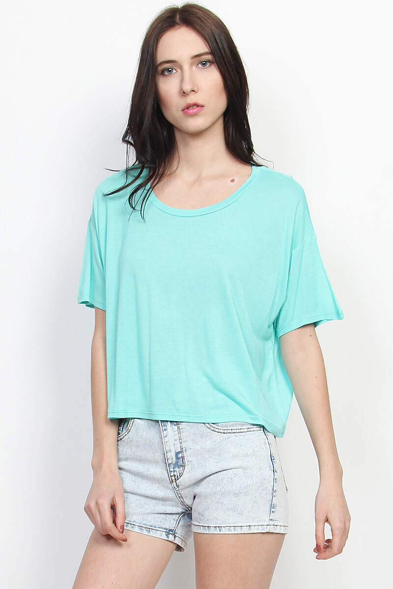 TheMogan Boxy Slouchy Short Sleeve Loose Fit Crop Top Casual Fashion T-shirts