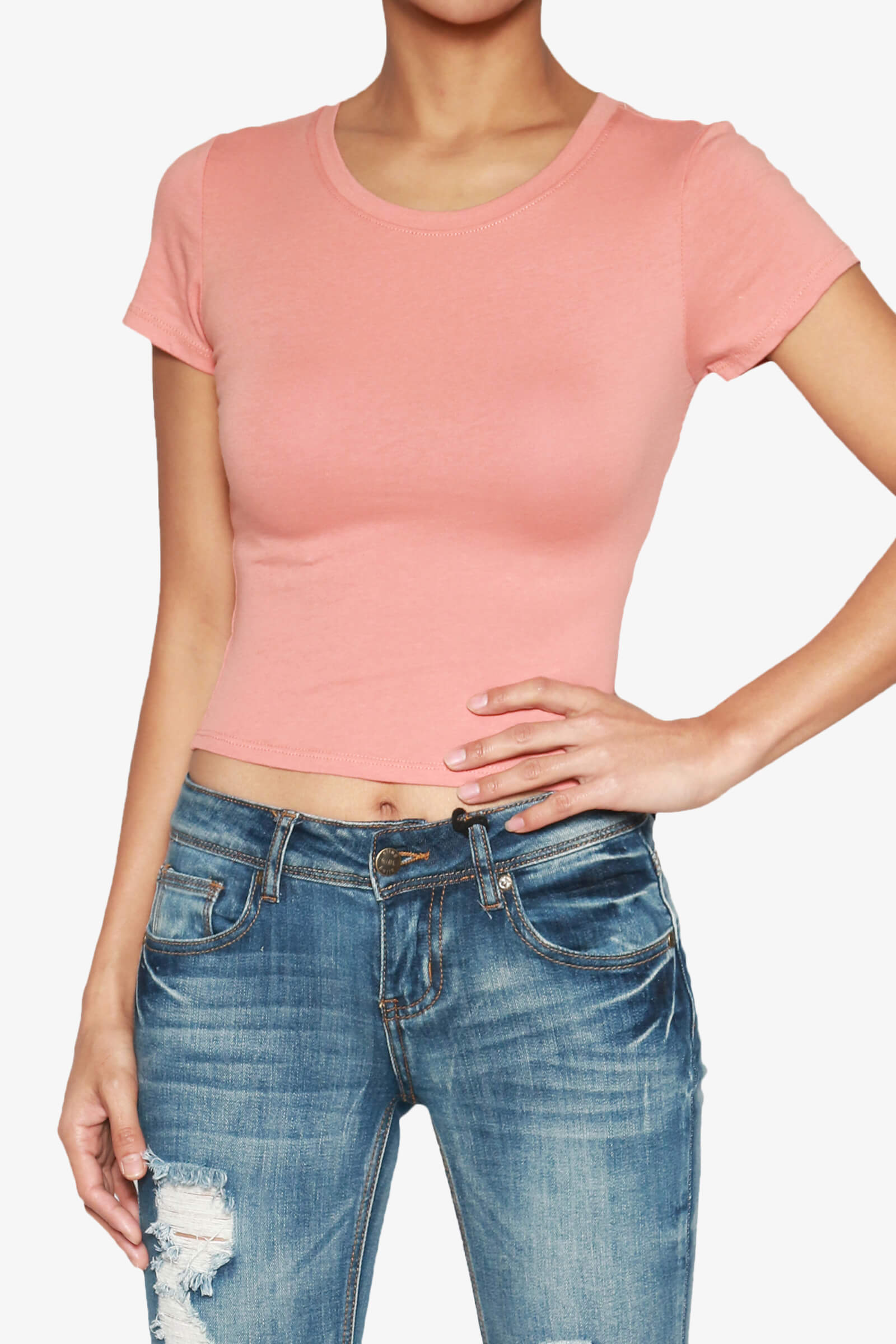 Slim fit, solid color, basic type, round neck, short sleeve, crop top You can wear this crop top shirt under a cardigan or sweater for a fashionable layered look. On summer, wear it /5().