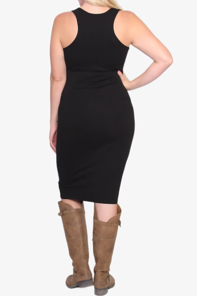 5524f61d4dd TheMogan Women  39 s Sleeveless Scoop Neck Racerback Tank Bodycon Pencil Midi  Dress