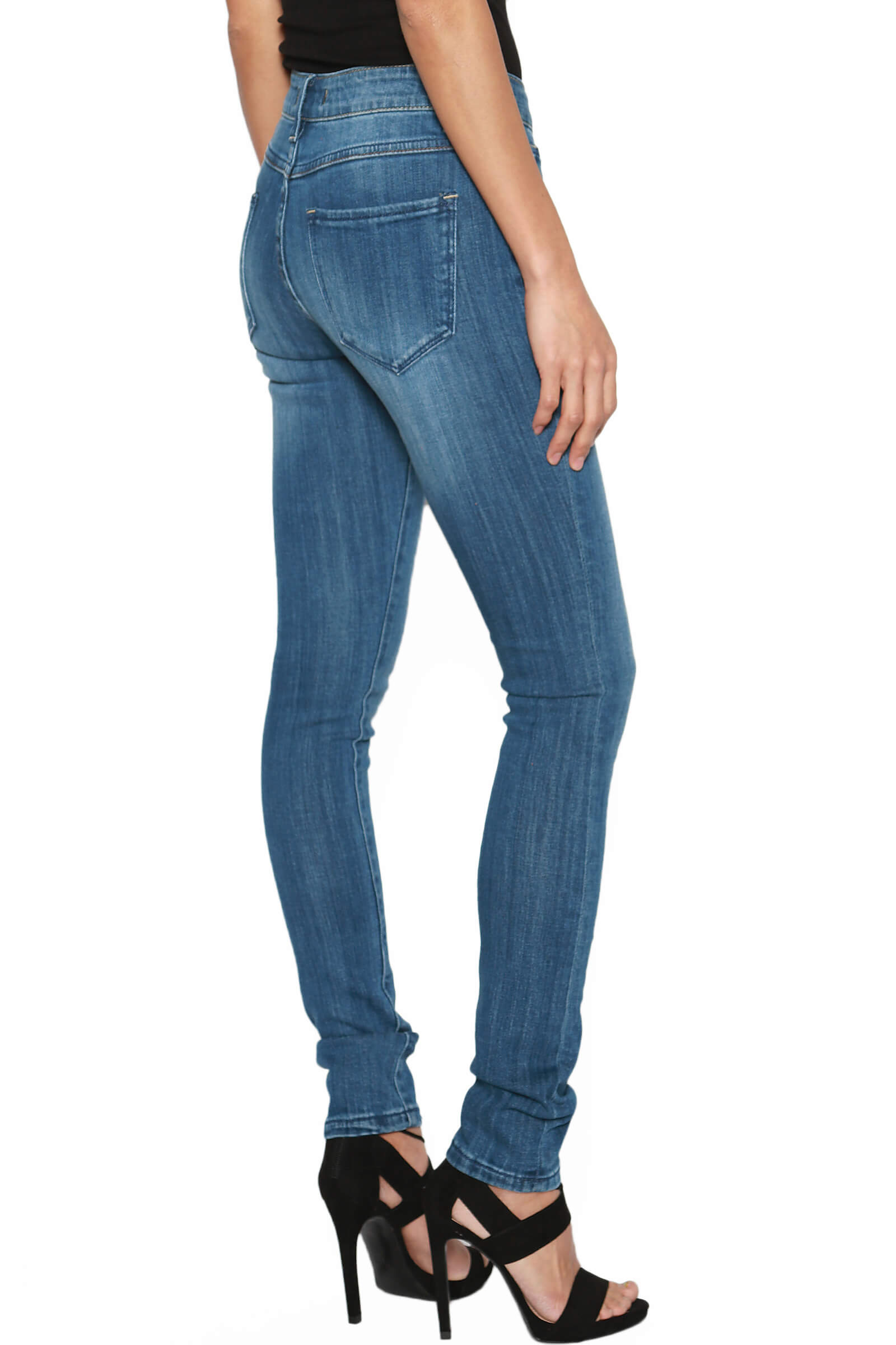 TheMogan Women/'s Perfect Fit Med Washed Mid Rise Stretch Super Skinny Jeans