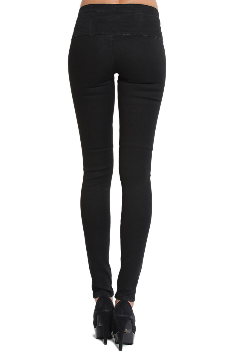 MOGAN Double Breasted HIGH WAISTED BLACK SKINNY JEANS Casual Slim ...