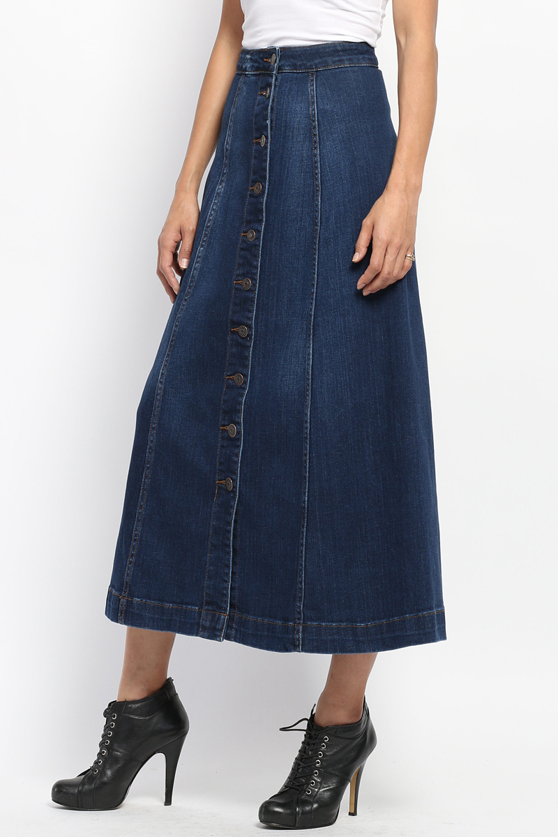 mid calf denim skirt dress ala