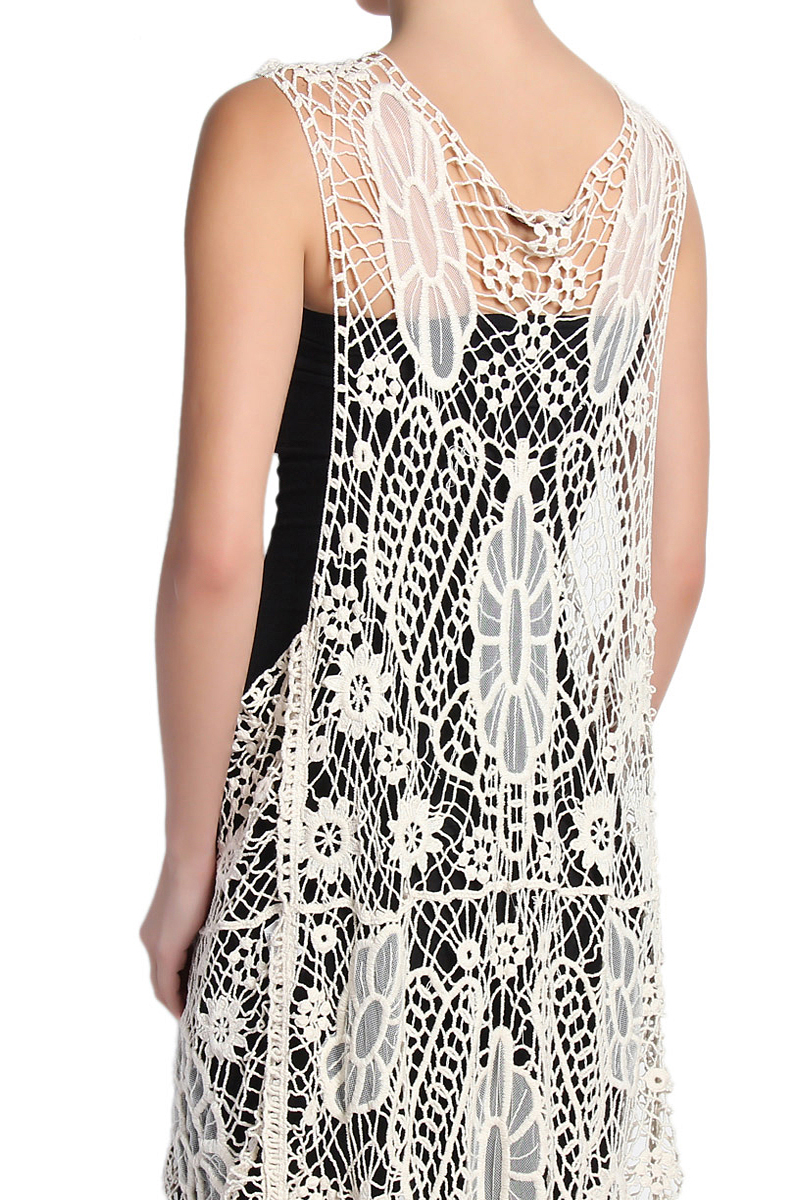 TheMogan Embroidered Mesh Crochet Lace Maxi Vest Layering Cover Up ...