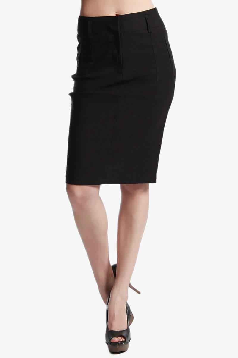 mogan dressy high waisted pencil skirt stretch woven knee