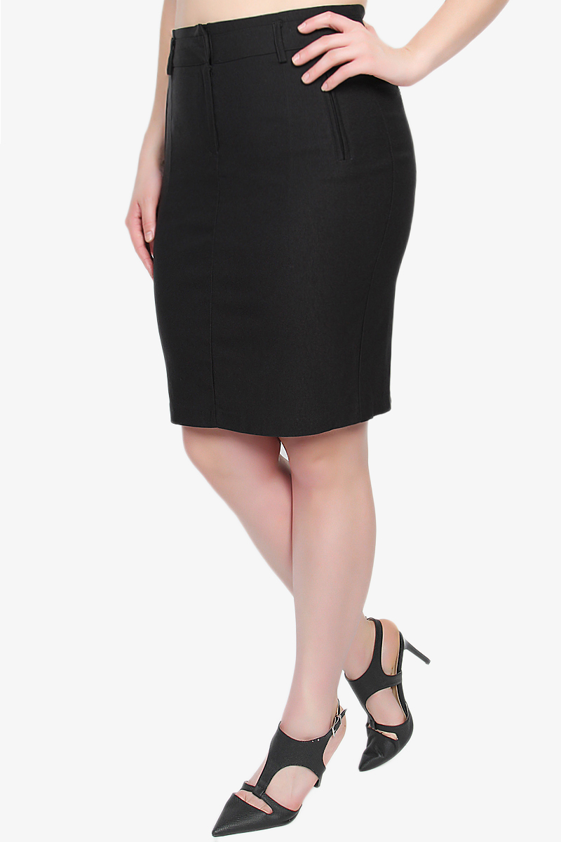 themogan suiting knee length high waisted stretch midi