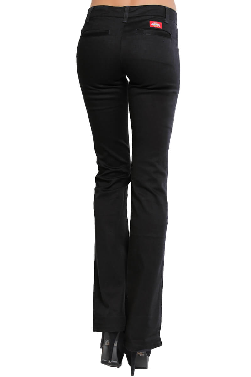 DICKIES GIRLS Womens Denim BOOTCUT Flare PANTS Stretch Work School ...