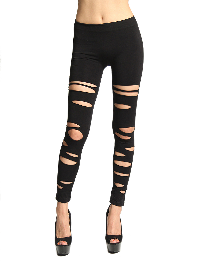 MOGAN Black DISTRESSED LEGGINGS - Laser Cut Out Ripped Sexy Leggings | eBay