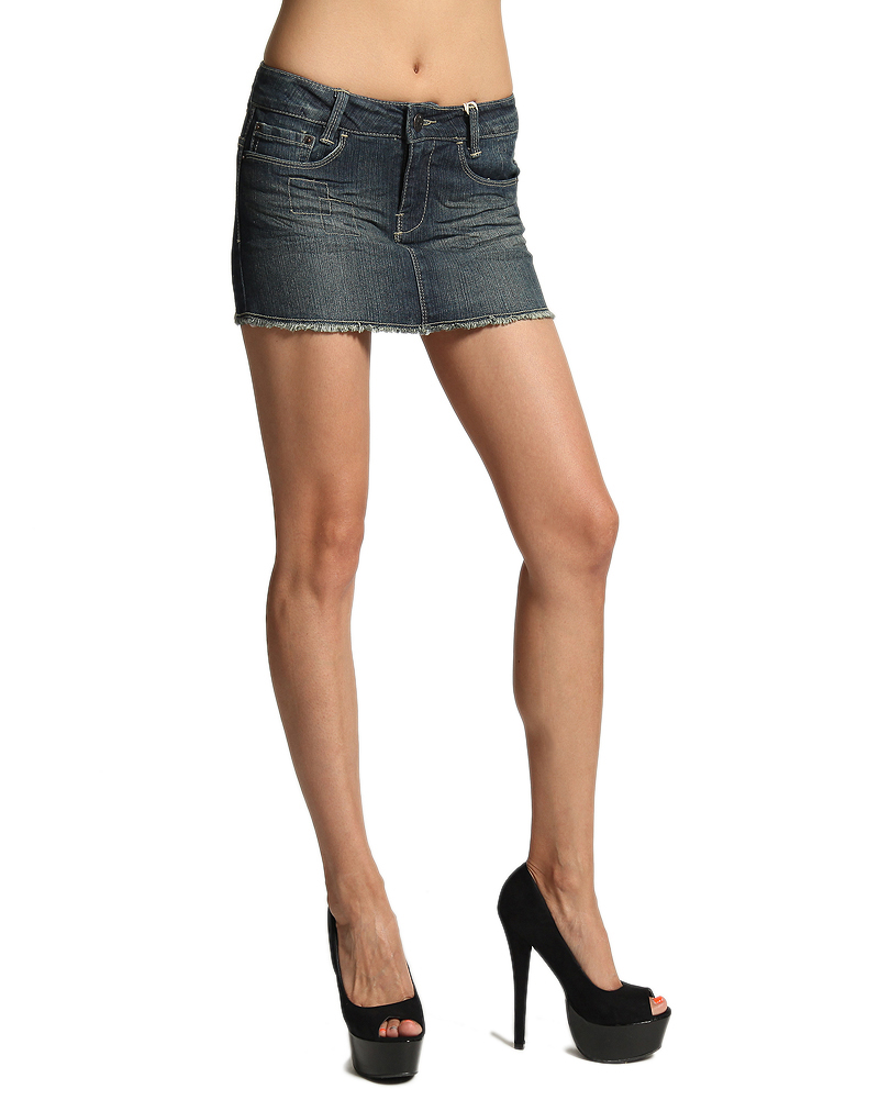 MOGAN Micro MINI JEAN SKIRTS Sexy Low Rise Washed Denim Cut Off ...