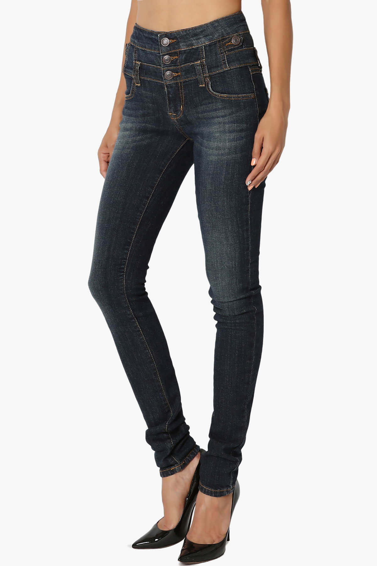 TheMogan High Waisted 3 Button Stretch Denim Skinny Jeans In Curvy ...