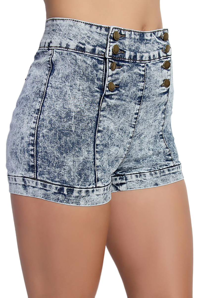TheMogan High Waist Double Breasted Cloudy Acid Wash Denim Shorts ...