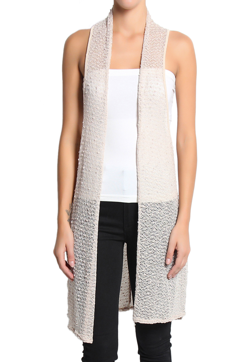 TheMogan Sheer Knit Long Vest Sleeveless Layering Cover Up ...