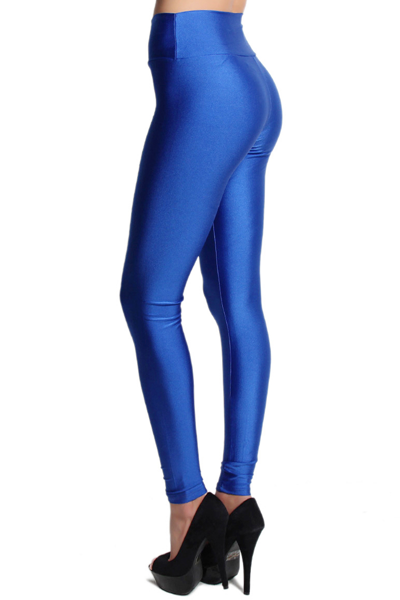 TheMogan Shiny Wet Look Zip Front High Waisted Leggings Stretch ...