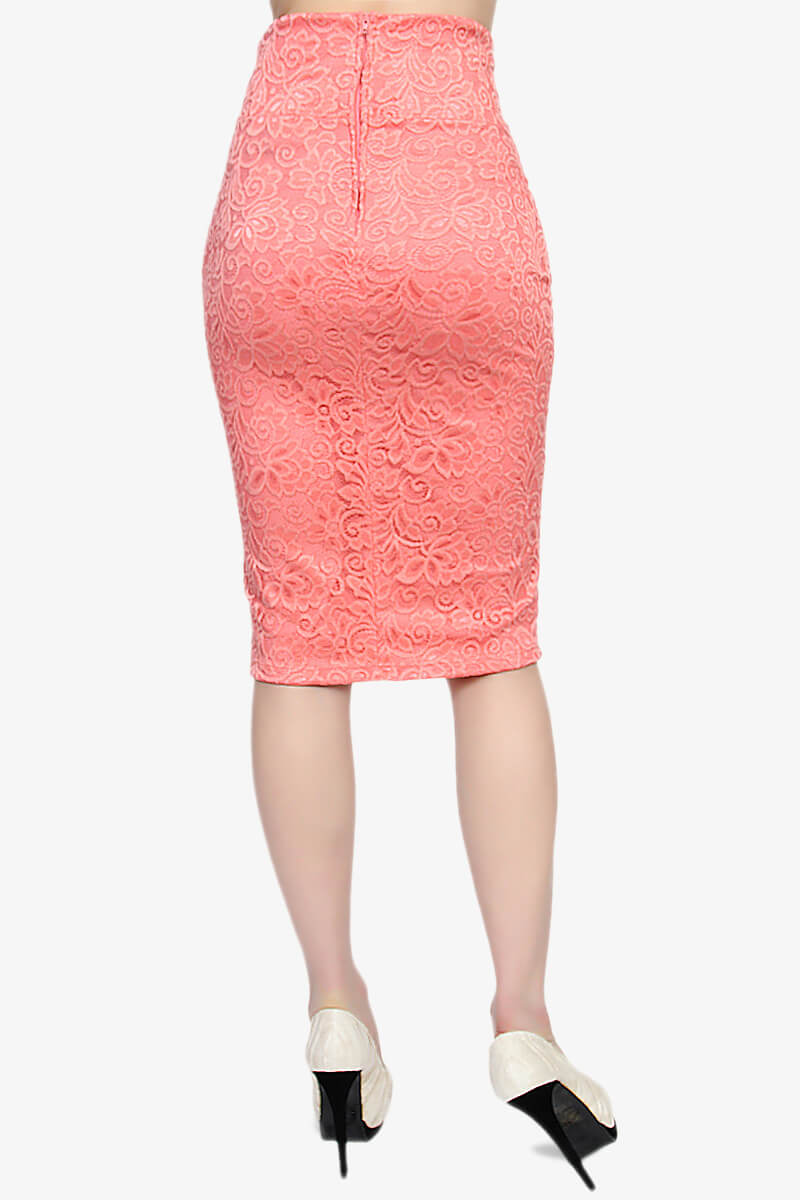 themogan lace midi pencil skirt with high waist knee