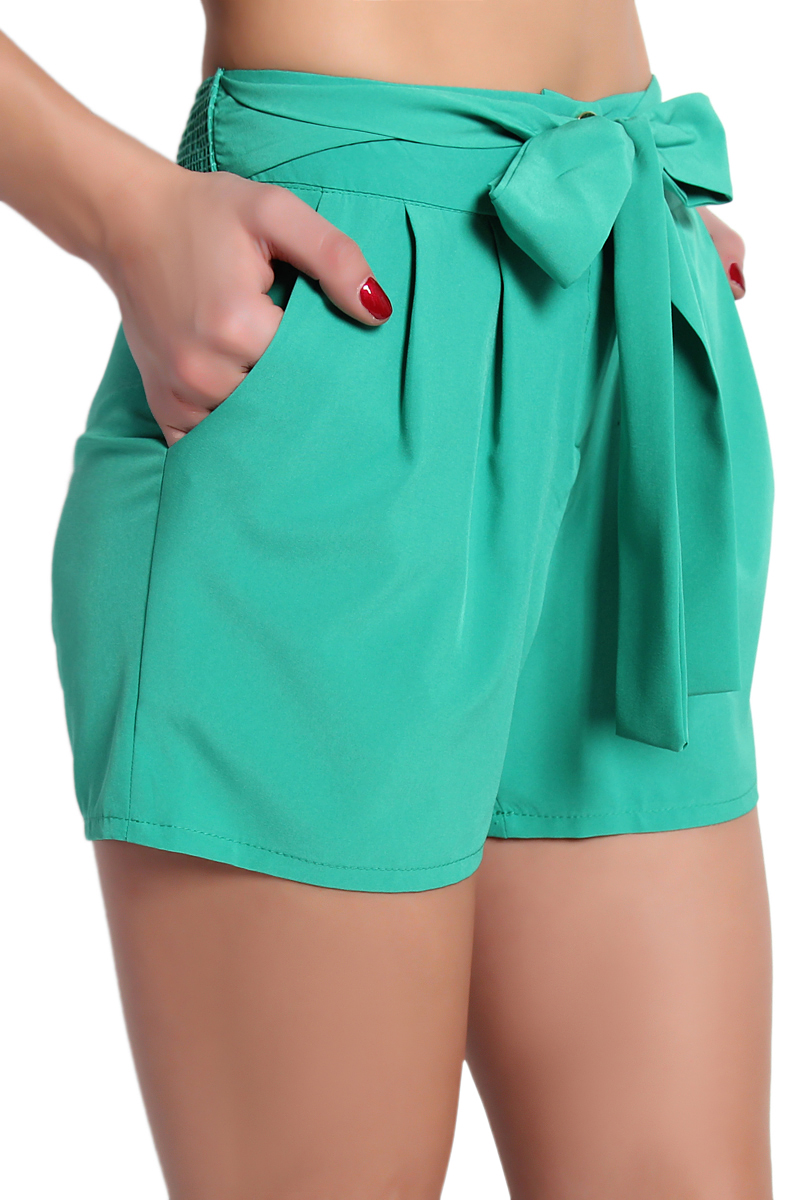 TheMogan Tie Front Pleated High Waisted Pocket Shorts Casual to ...