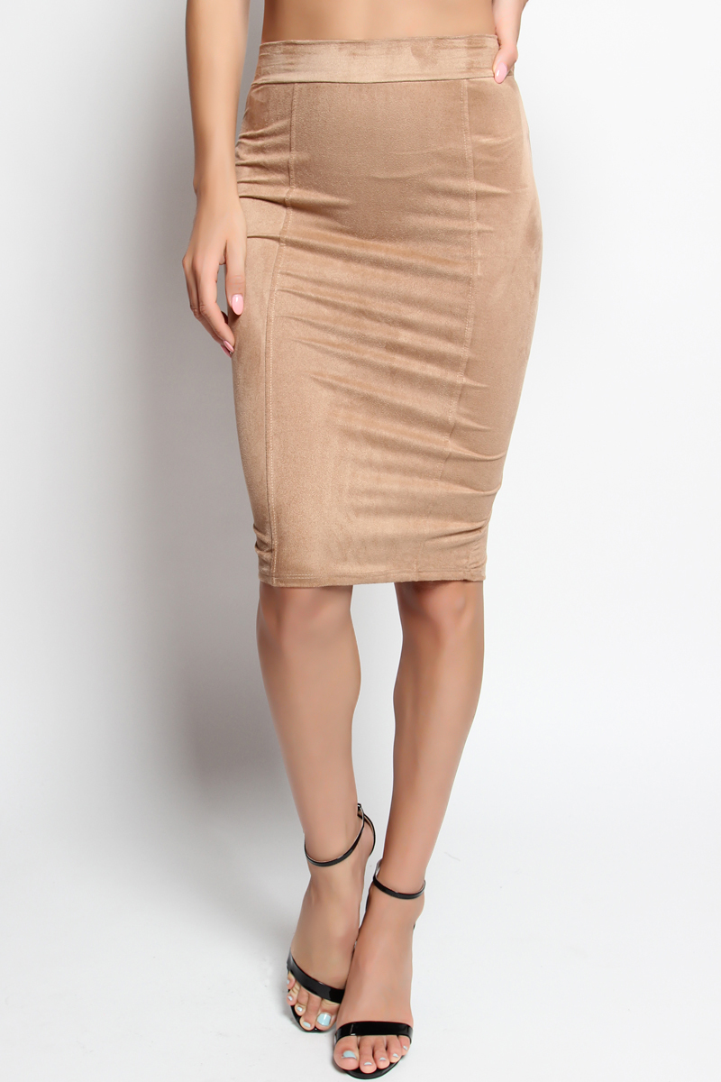 TheMogan High Waist Stretch Straight Faux Suede Midi Pencil Skirt ...