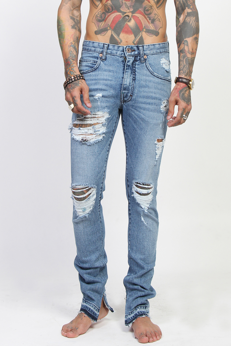 TheMogan Men's Ankle Zipper Distressed Destroyed Ripped Washed ...