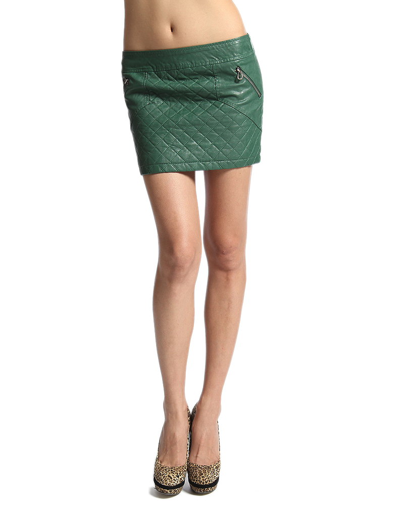 mogan quilted panel faux leather skirt low rise zip pocket