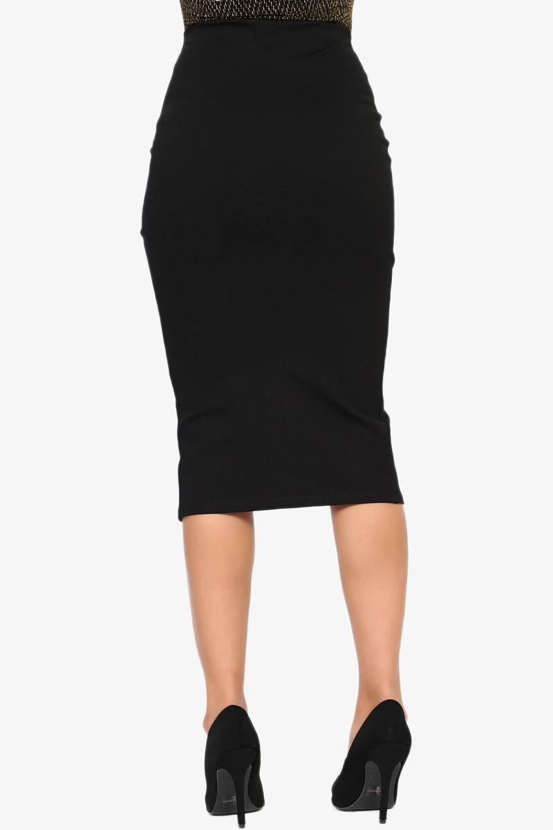 TheMogan Zip Front High Waisted Stretch Ponte Midi Pencil Skirt