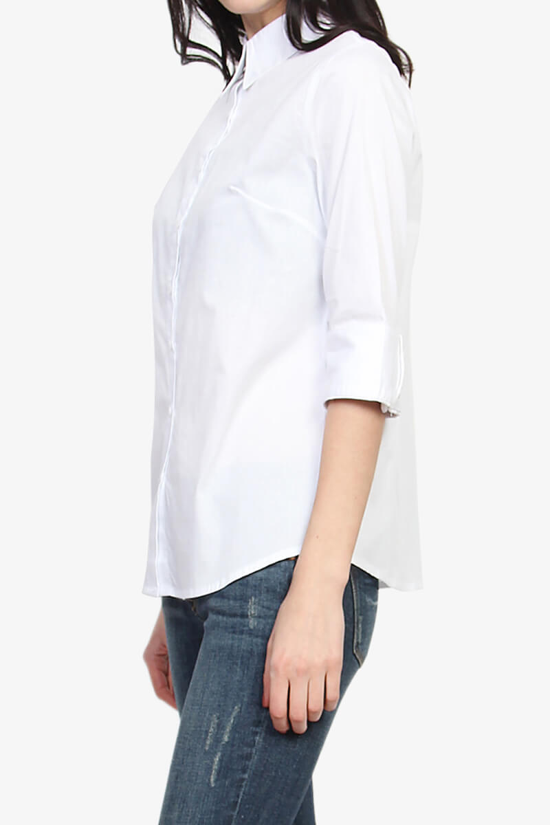 Themogan women 39 s slim fit 3 4 sleeve button down stretch for Women s short sleeve button down cotton shirts