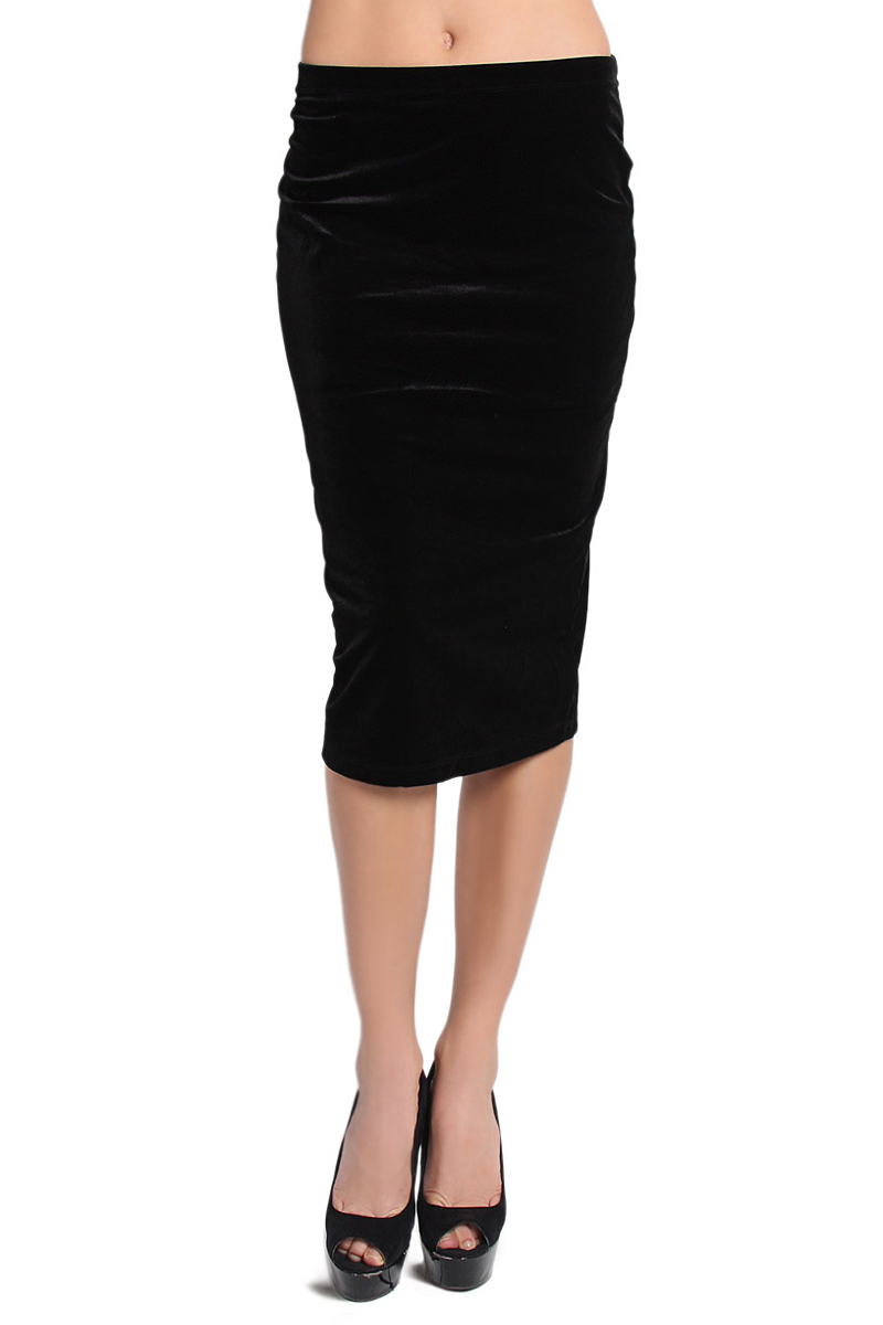 TheMogan Stretchy Velvet Knee Midi Length Straight Fitted Pencil Skirt