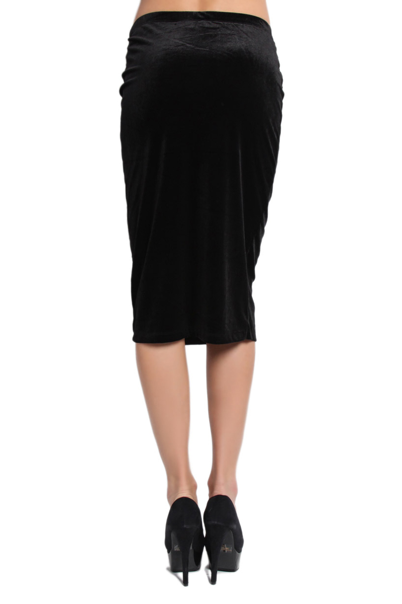 TheMogan Stretchy Velvet Knee Midi Length Straight Fitted Pencil ...