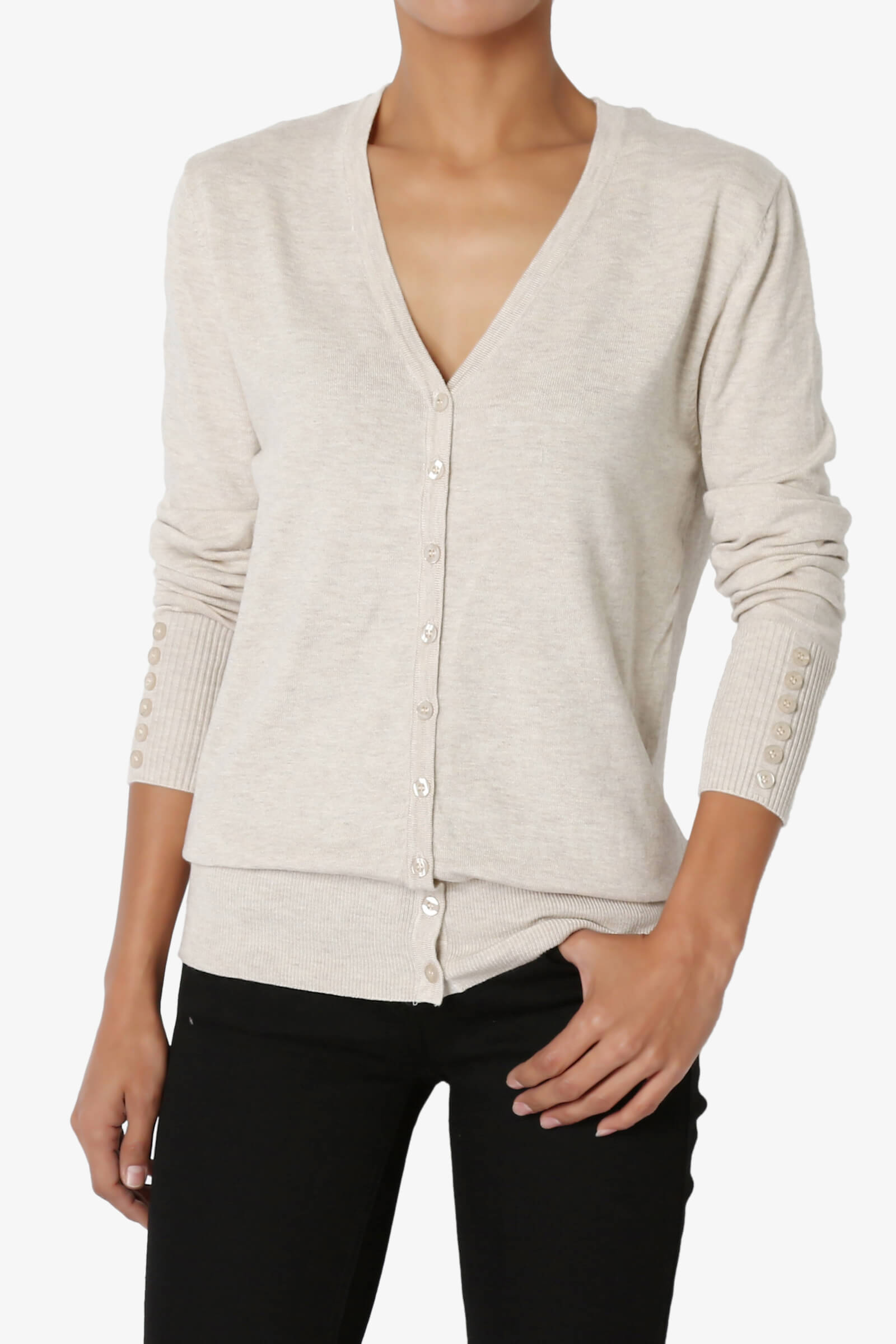 TheMogan Basic Button Down V-Neck Long Sleeve Lightweight Knit ...